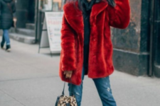 add brightness to your look with silver sneakers, an animal print bag and a red faux fur coat