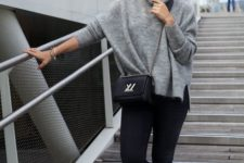 an everyday fall look with an oversized grey sweater, black skinnies and lace up flats plus a black box bag