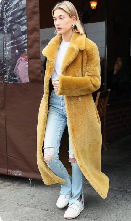 an everyday look raised to a new level with a maxi mustard faux fur coat is very chic