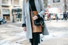 02 a black jumper, an amber leather mini, black boots and a grey coat for a chic look