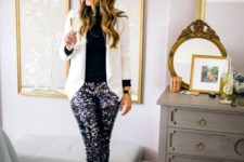 02 a black turtleneck, a white blazer, whimsy sequin pants and black heels for a Christmas party