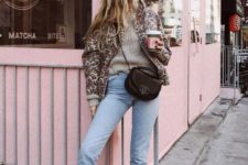 02 a grey sweater, blue high waisted cropped skinnies, black boots, an animal print coat