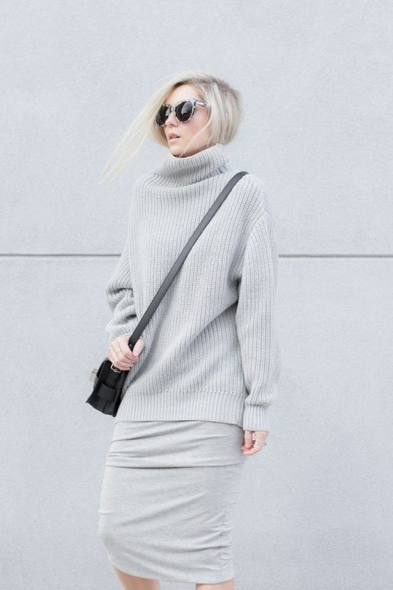 a minimalist look with a dove grey sheath dress, a matching oversized sweater, a black bag for winter