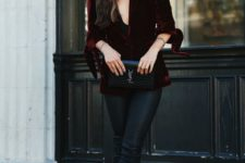 03 a chic look with a burgundy velvet blazer, black leather pants, black heels and a black bag for a refined touch