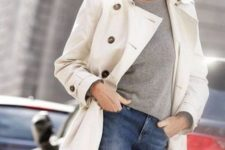 03 blue jeans, a grey t-shirt and a white trench for a stylish casual look that inspires