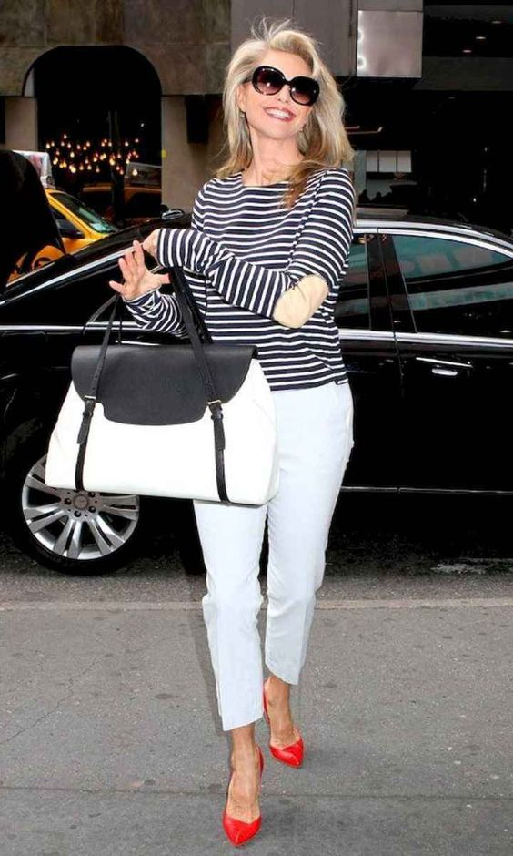 a basic striped top is a chic idea to pair with any pants you like and it will make you look younger