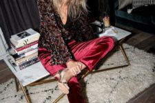 04 a dark floral shirt, burgundy velvet pants and silver heels for a boho party outfit