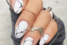 04 chic white marble nails are a trendy idea not only for winter but also for other seasons, too