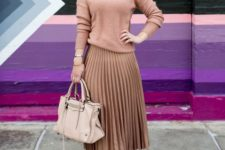 05 a girlish outfit with a blush pink turtleneck, a bronze pleated midi, blush shoes and a neutral bag
