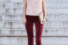 05 a holiday look with a pink sequin top, burgundy velvet pants, nude shoes and an animal print clutch