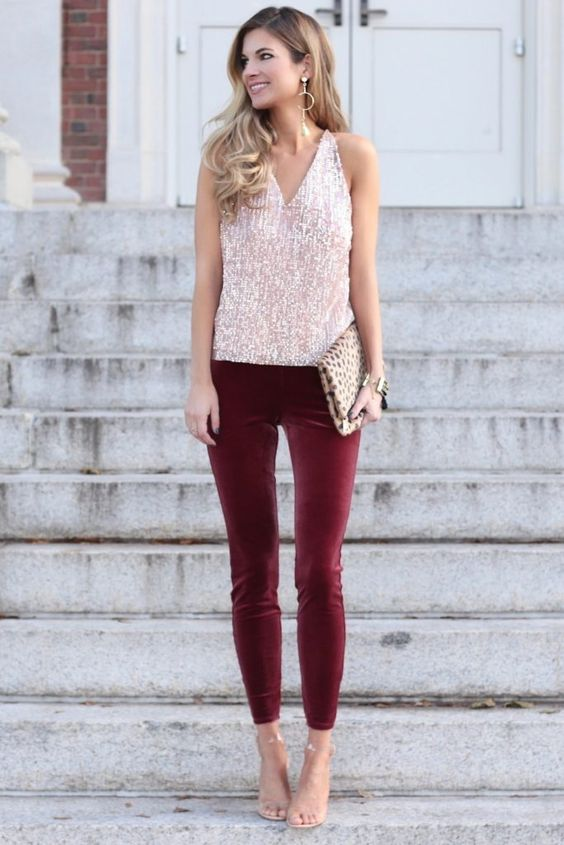 a holiday look with a pink sequin top, burgundy velvet pants, nude shoes and an animal print clutch
