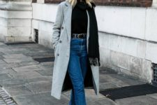 05 a winter look with a black sweater, blue cropped skinnies, black boots and a grey coat plus a black scarf