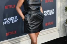 06 Jennifer Aniston wearing a black leather mini dress with no sleeves and embellished shoes