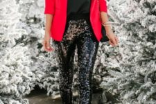 06 a red blazer, a black top, black sequin pants, black shoes and a black bag to rock at Christmas
