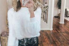 06 a white fuzzy sweater, a black sequin mini, black tights and statement earrings for a monochromatic look