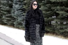 07 a black top, a black sequin pencil skirt, black tights, black shoes and a faux fur coat plus a clutch
