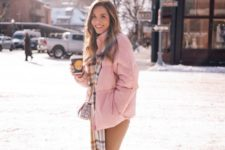 08 a pink puff jacket, a plaid scarf, tan jeans and beige hiking boots for a glam winter look