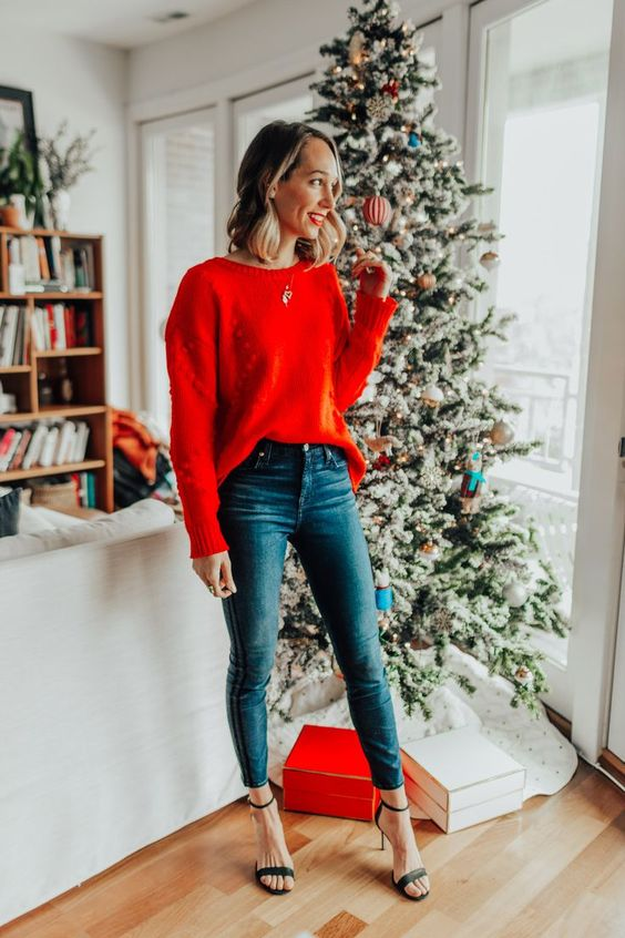 blue cropped skinnies, a red sweater, black heels and a statement necklace for a simple and cute look