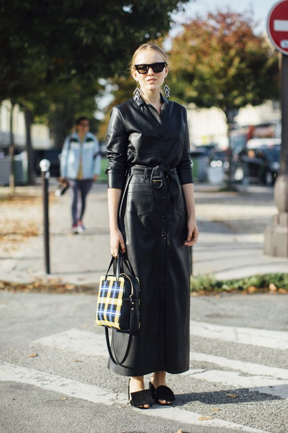 a black leather maxi dress with pockets and buttons, with long sleeves, whimsy shoes and a plaid bag