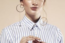 10 a set of mismatching minimalist earrings with cirles and beads is a stylish statement idea