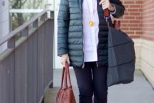 10 a sporty outfit with a white shirt, black pants, yellow trainers, a black padded jacket and a bright bag