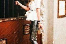10 a white peplum shirt, black sequin pants, black heels and a metallic box clutch