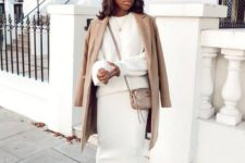 11 a gorgeous look with a pencil maxi skirt, a white oversized sweater, a camel coat and a bag and statement shoes