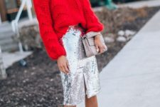 12 a red chunky knit sweater, a silver sequin pencil skirt, nude shoes and a silver bag for the holidays