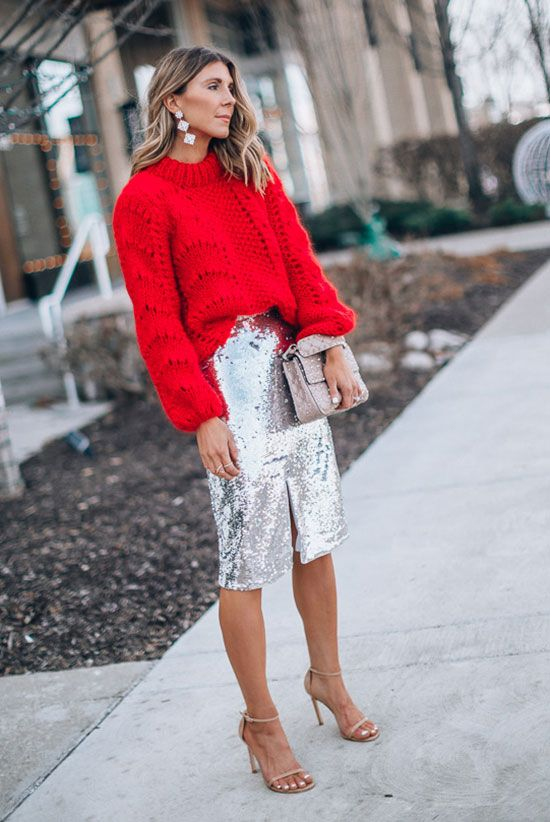 a red chunky knit sweater, a silver sequin pencil skirt, nude shoes and a silver bag for the holidays