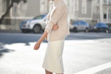12 an oversized creamy sweater, a white pencil skirt, nude shoes for a chic yet comfortable look