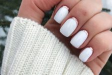 12 glossy white nails with rose gold glitter touches are super chic and girlish