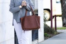 12 white jeans instead of pants is a fresh idea to finish off the look with a touch of contrast