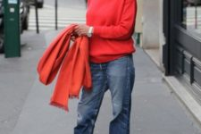 14 blue straight jeans, a bright red top and scarf and leopard print flats for a daring outfit