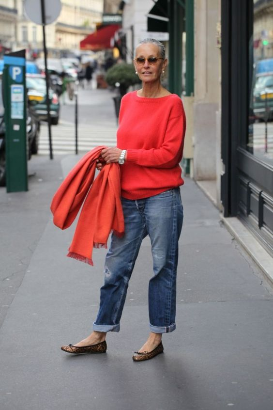 blue straight jeans, a bright red top and scarf and leopard print flats for a daring outfit
