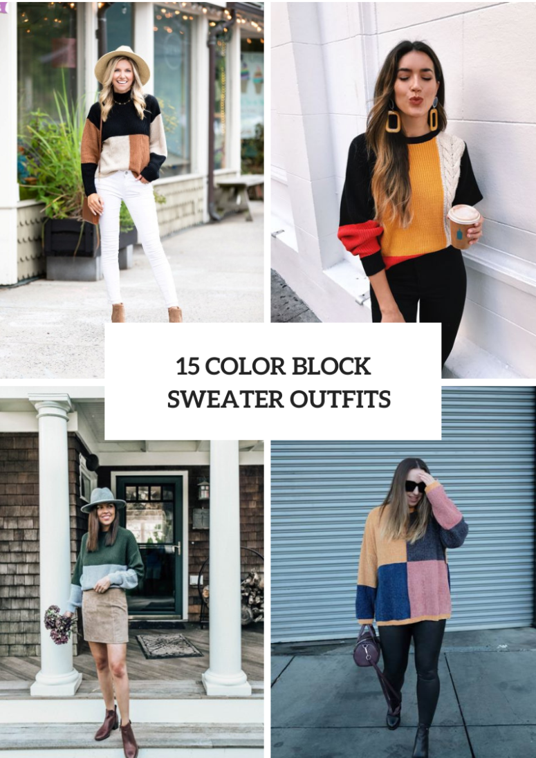 15 Cool Outfits With Color Block Sweaters