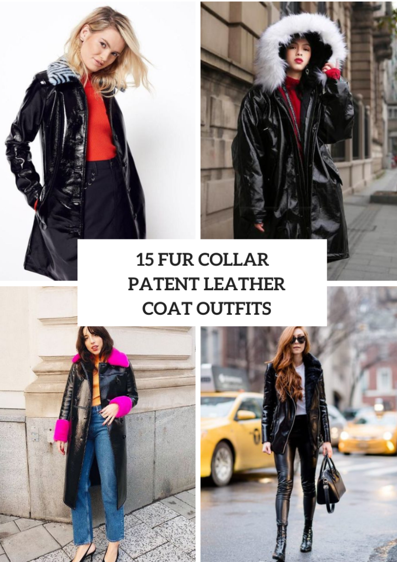 Outfits With Fur Collar Patent Leather Coats