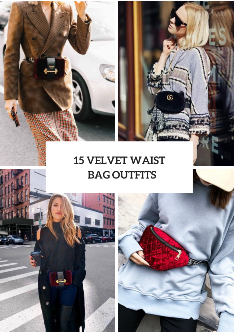 Outfits With Velvet Waist Bags For Ladies