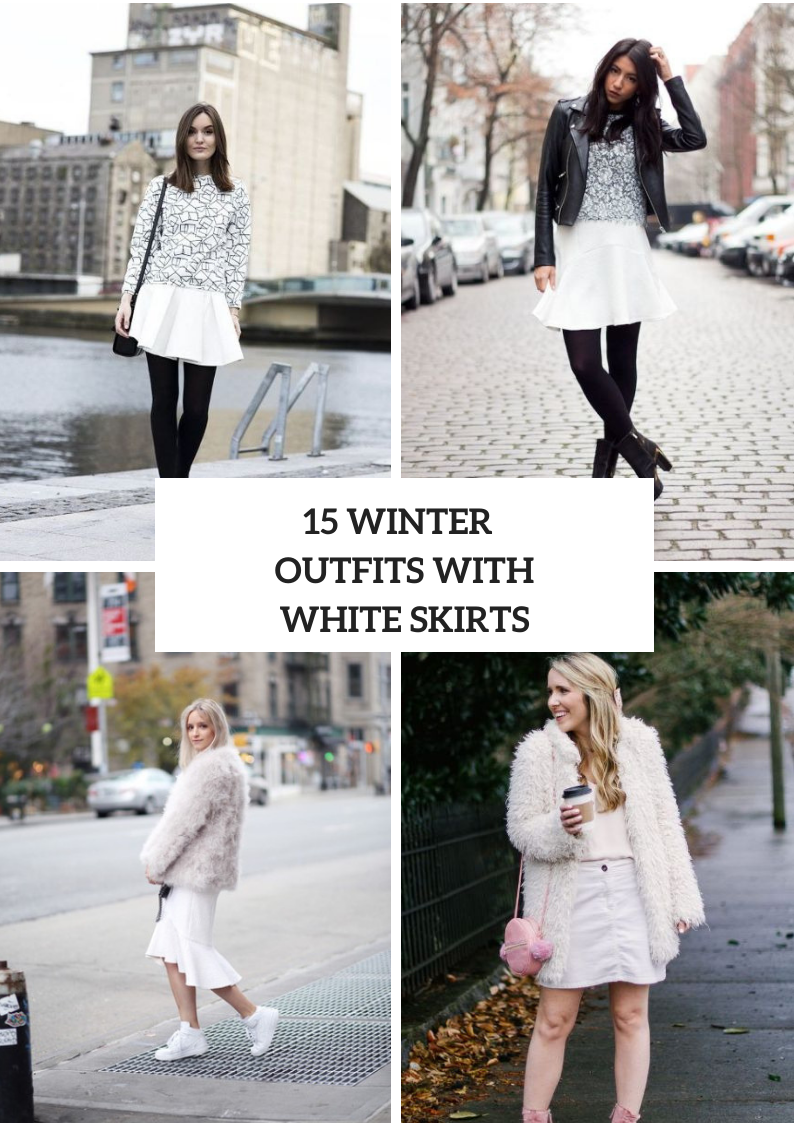 Winter Outfits With White Skirts