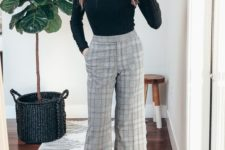 15 a casual look with a black jumper, plaid grey culottes and nude shoes will be actual for both work and a date