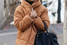 15 a rust-colored padded jacket is a fresh idea to spruce up a neutral or monochromatic look
