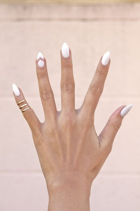 pointy white nails with a chevron accent one is a stylish and bold idea