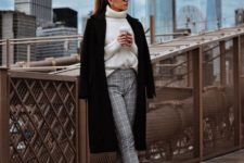16 a stylish yet simple look with a white sweater, grey plaid pants, black booties with buttons and a coat