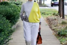 16 a trendy and bold color block outfit in white, grey and lemon yellow for a chic look