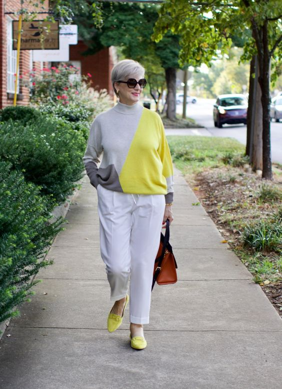 a trendy and bold color block outfit in white, grey and lemon yellow for a chic look