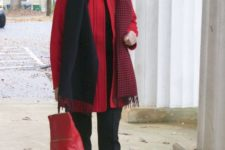 17 a red coat, a red bag will make your outfit super contrasting and super bold
