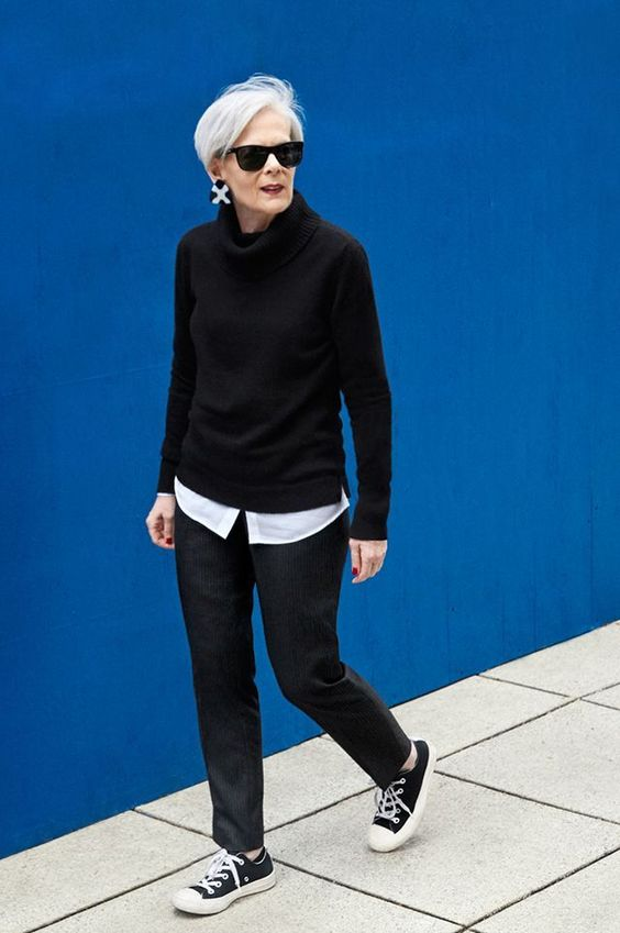 a bold monochromatic look with lots of contrast and cool sneakers for a more modern feel