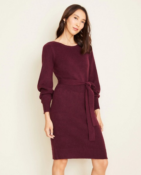 Marsala knee-length sweater dress with a belt