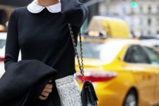 With black and white shirt, gray tweed mini skirt and black coat