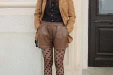 With black button down shirt, brown blazer, brown leather shorts, hat, bag and brown ankle boots