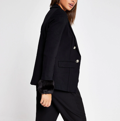 With black loose trousers